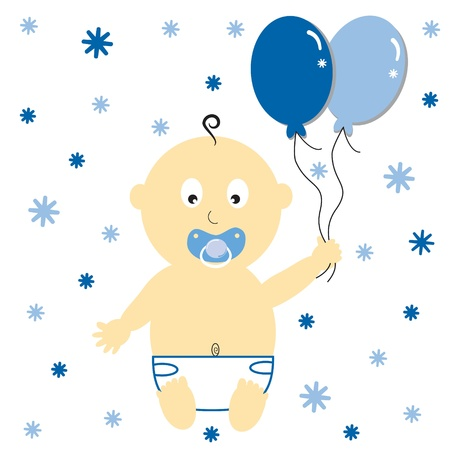 Baby Boy with Party Balloons Vector