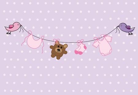 girl shower: Baby Shower de ni�a Vectores