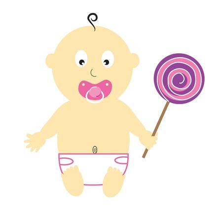 Baby Girl With Lollipop Vector