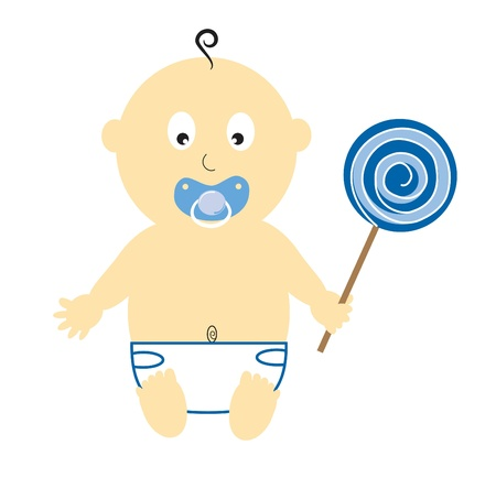 baby announcement card: Baby Boy With Lollipop Illustration