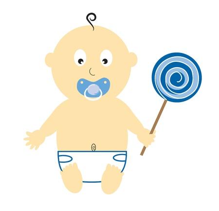 Baby Boy With Lollipop 向量圖像