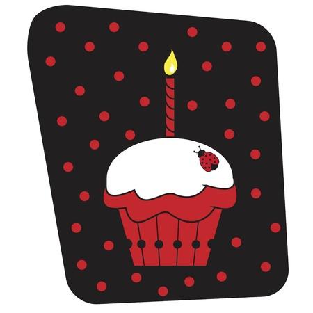 cupcakes isolated: Ladybug Cupcake Illustration