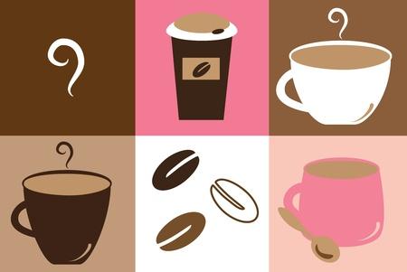 hot coffees: Cute Coffee Mugs Illustration