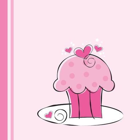 Cute Pink Cupcake Vector