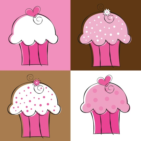 Fancy Cupcakes Stock Vector - 10361739