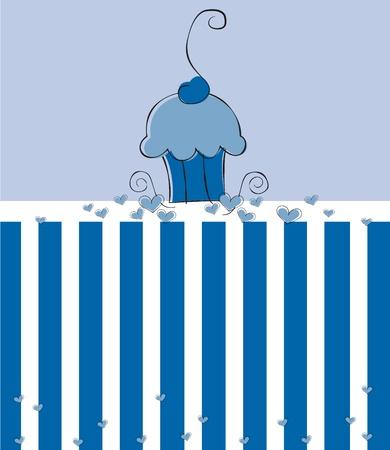 cupcake illustration: Cute Blue Cupcake