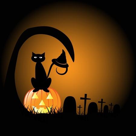 Halloween Graveyard Illustration