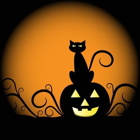 Pumpkin and Cat Stock Vector - 10446791