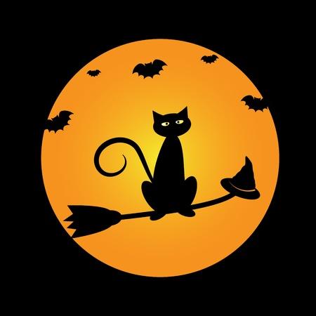 Halloween Cat on Broom Illustration