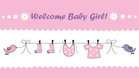 clothes hanging: Welcome Baby Girl