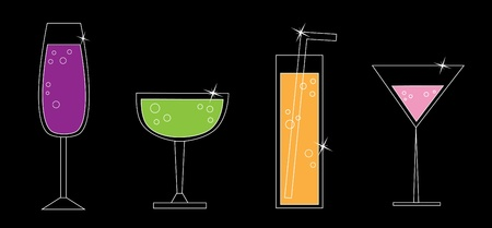 happy hours: Boissons fantaisies Illustration