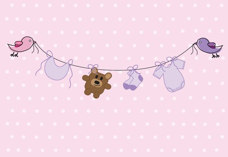girl shower: Baby Shower ni�a Vectores