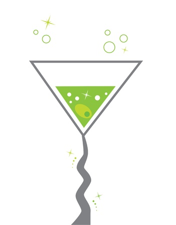 colourful images: Green Martini Illustration