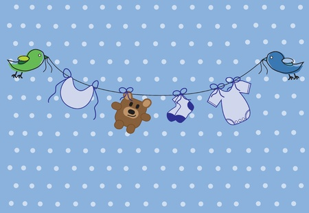 blue clip: Baby Boy Shower Illustration