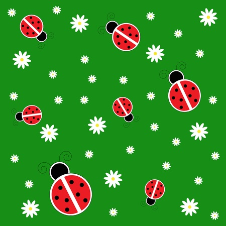 Ladybugs on Grass Vector