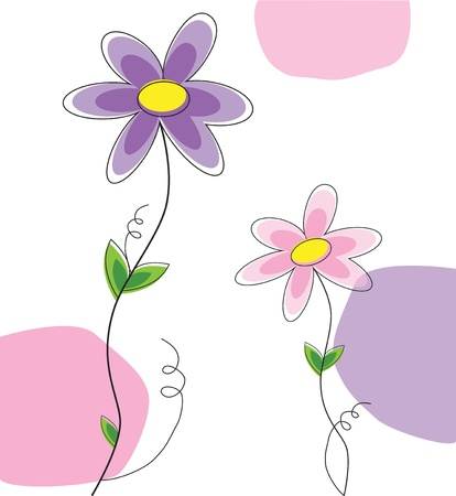 flowers cartoon: Spring Flowers Illustration