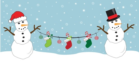Snowmen Holding Stockings Vector