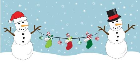 Snowmen Holding Stockings Vector