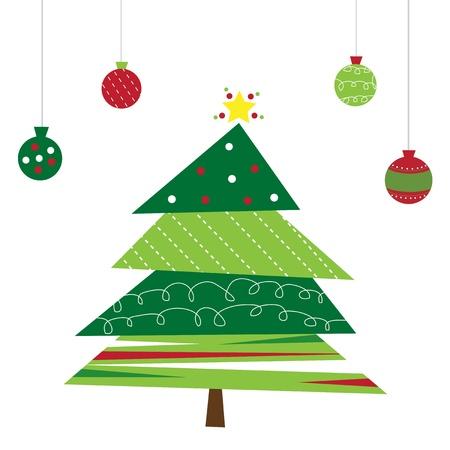 Kerstboom en Ornamenten Stock Illustratie