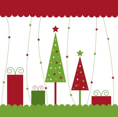 Árboles de navidad y regalos Ilustración de vector