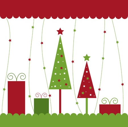 christmas trees: Christmas Trees and Presents Illustration