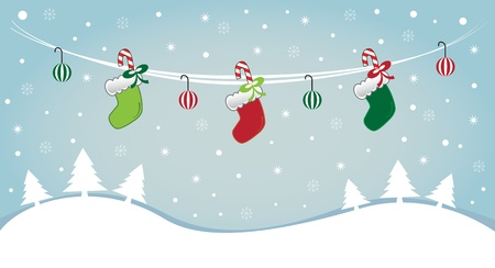 Hanging Stockings in Snow Vector