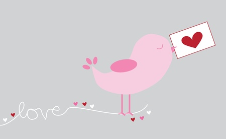 Love Letter Bird Vector