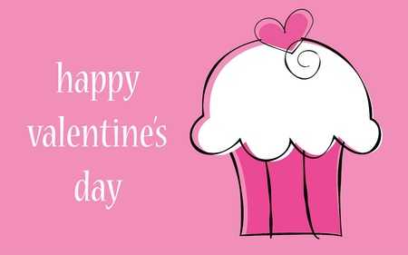 Happy Valentine s Day Cupcake Illustration