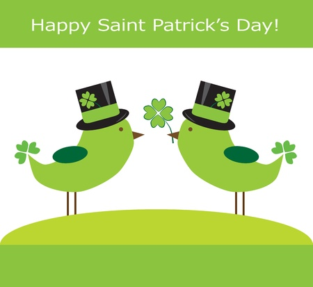 Saint Patrick s Day Birds Illustration