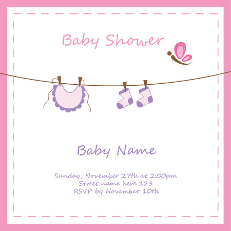 cute baby girls: Baby Girl Shower Invitation Illustration