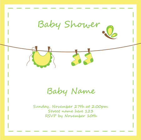 clothes pin: Neutral Baby Shower Invitation