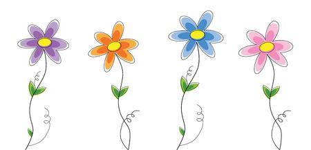 Pretty Spring Flowers Illustration