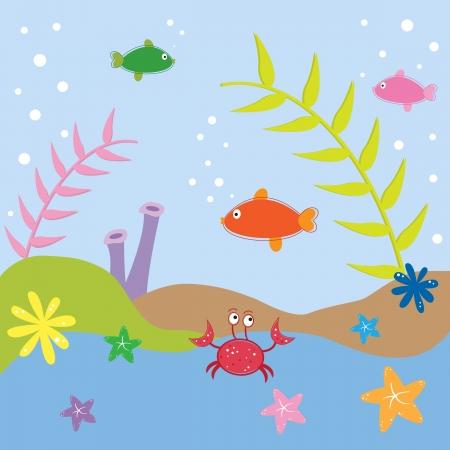 Cangrejo y estrellas de mar en el océano Ilustración de vector