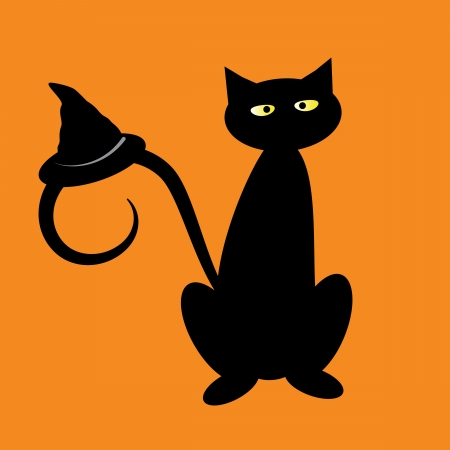 fall images: Black Halloween Cat