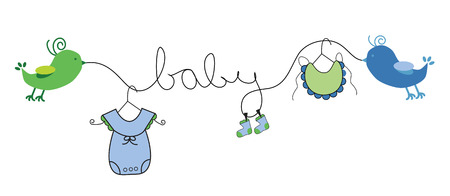 Línea de ropa de bebé niño Ilustración de vector