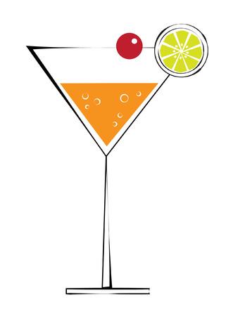 Martini with Cherry Ilustração