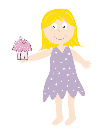 Girl Holding Cupcake Vector