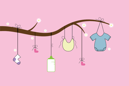 Baby Items on Tree Vector