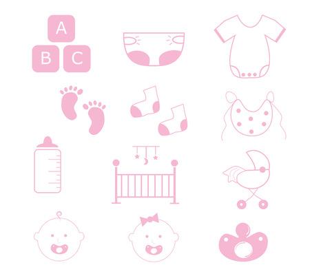 Baby Girl Items Vector