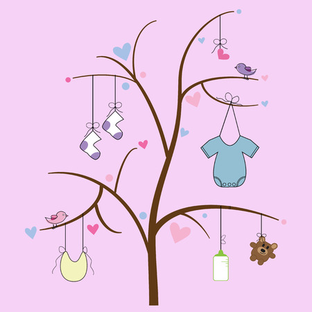 Baby Items Hanging from Tree Vector