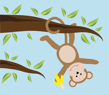 Monkey Hanging from Tree Illustration