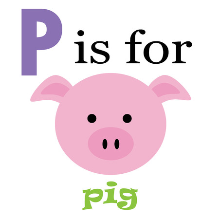 P is for Pig Vector