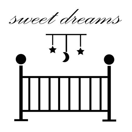 baby crib: Sweet Dreams Baby Crib Illustration