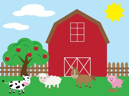 Leuke Barnyard Stock Illustratie