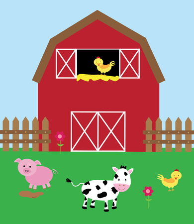rural scene: Barnyard Illustration