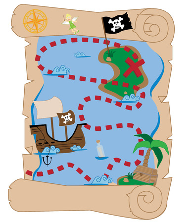 x marks the spot: Treasure Map Illustration