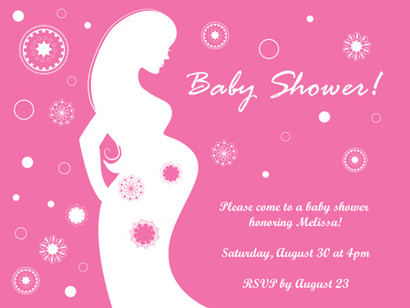 Baby Shower Bump Invitation Vector