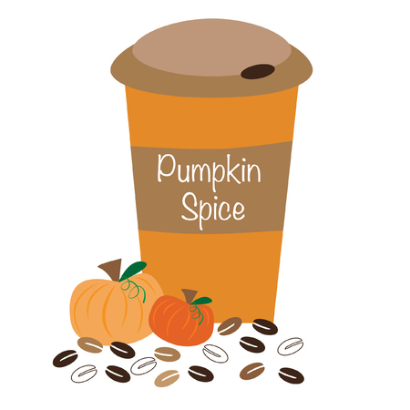 hot coffees: Pumpkin Spice Coffee Illustration