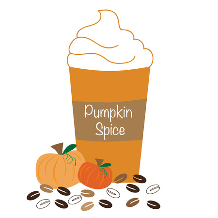 hot coffees: Pumpkin Spice Whipped Coffee Illustration