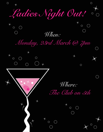 black out: Ladies Night Out Invitation